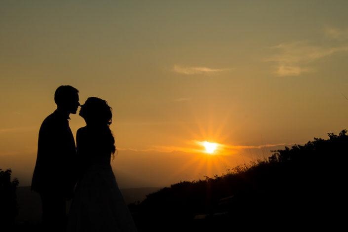 Hochzeitsfotografie beim Sonnenuntergang