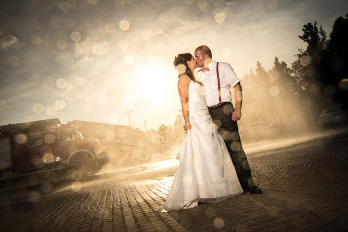 Feuerwehr Shooting mit einem Brautpaar